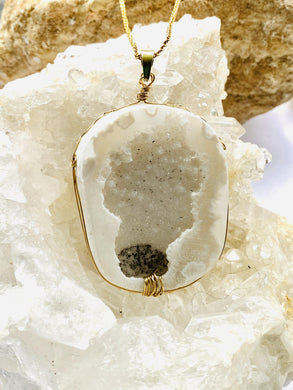 Drusy White chunky textured stone Pendant necklace by Full Moon Designs, part of the consciousness collection