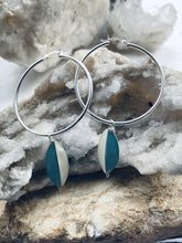 Load image into Gallery viewer, sterling silver hoop earrings with teardrop mother of pearl  accessory, a two tone earring by full moon designs