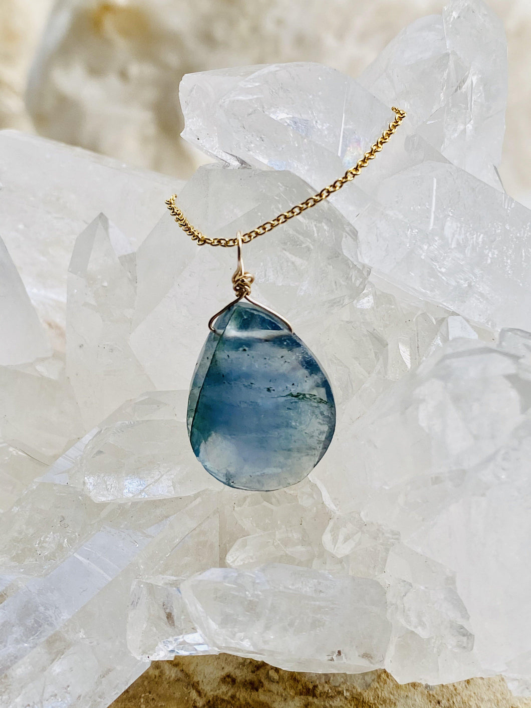 Blue Fluorite Goldfilled  Necklace - Full Moon Designs