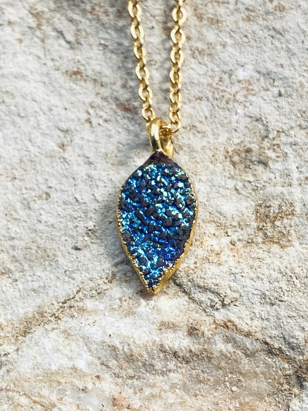 Blue Drusy Gold on Silver Pendant - Full Moon Designs