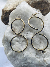 Load image into Gallery viewer, recycled brass spiral earrings, eco friendly handmade jewellery