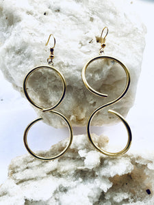 recycled brass spiral earrings, eco friendly handmade jewellery, figure of eight shape