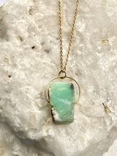 Load image into Gallery viewer, deep turquoise and gold necklace, a natural chrysoprase stone held on gold plated chain by full moon deisgns