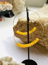 Load image into Gallery viewer, Agate (Yellow) Gold Filled Hoops Earrings - Full Moon Designs