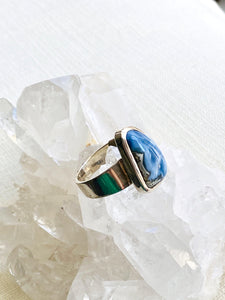 Blue Opal Sterling Silver Ring - Full Moon Designs