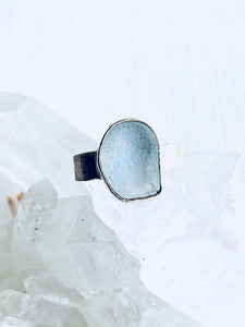 Recycled Glass Sterling silver Ring - Full Moon Designs
