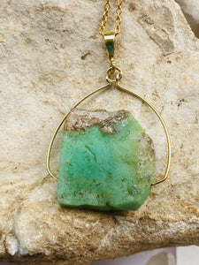 Chrysoprase Gold on Silver Pendant by full moon designs jewellery  necklace