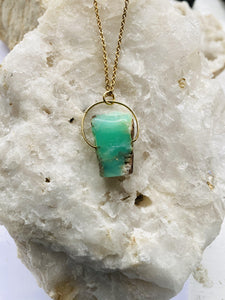 deep turquoise and gold necklace, a natural chrysoprase stone held on gold plated chain by full moon deisgns