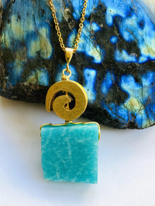 Amazonite Gold on Silver Pendant - Full Moon Designs