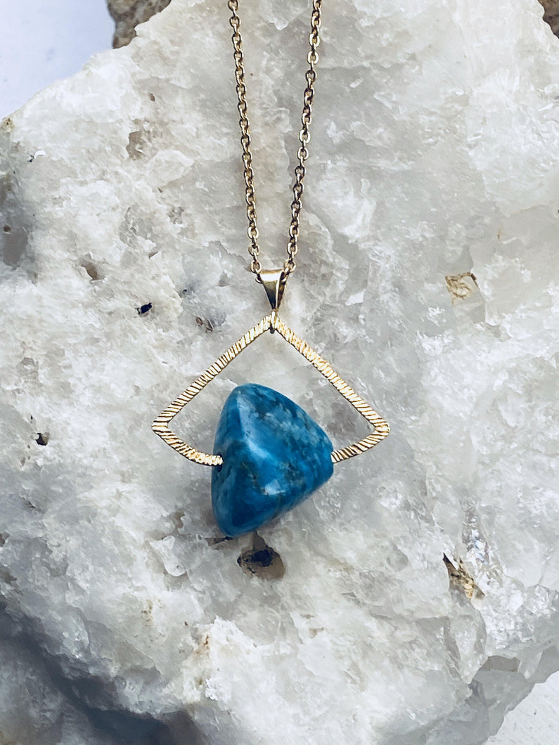aquatite deep blue precious stone statement necklace on gold plated chain, handmade piece by full moon designs