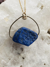 Load image into Gallery viewer, asymmetric natural deep blue stone held on gold plated chain, a handmade bespoke necklace by full moon designs jewellery