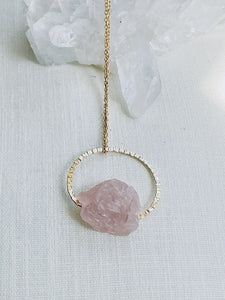 blush pink rose quartz asymmetric hanging necklace, handmade jewellery by full moon designs brixton