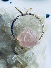 Load image into Gallery viewer, blush pink rose quartz asymmetric hanging necklace, handmade jewellery by full moon designs brixton