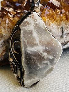 ulexite sterling silver pendant necklace by full moon designs, handmade jewellery close up