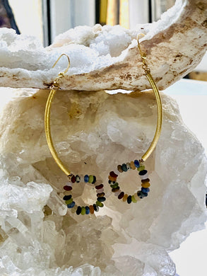Multi colour stones Gold on Silver Earrings - Full Moon Designs