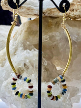 Load image into Gallery viewer, Multi colour stones Gold on Silver Earrings - Full Moon Designs