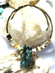 Labradorite Necklace with multi colour stones. Gold on Silver. - Full Moon Designs