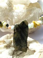 Load image into Gallery viewer, Labradorite Necklace with multi colour stones. Gold on Silver. - Full Moon Designs