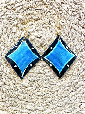 unique Blue and Black Gold recycled horn diamond shaped Earrings, handmade by  Full Moon Designs
