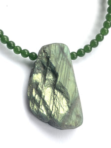 Labradorite and Jade (Nephrite) Necklace - Full Moon Designs