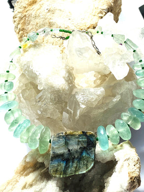 Labradoirite and Fluorite Necklace - Full Moon Designs
