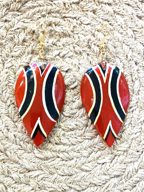 Red, Black, and White Gold Earrings - Full Moon Designs