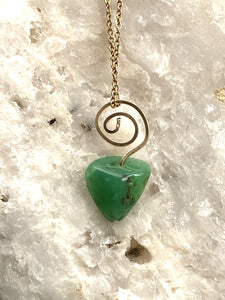 Chrysoprase Goldfilled Spiral Pendant Necklace