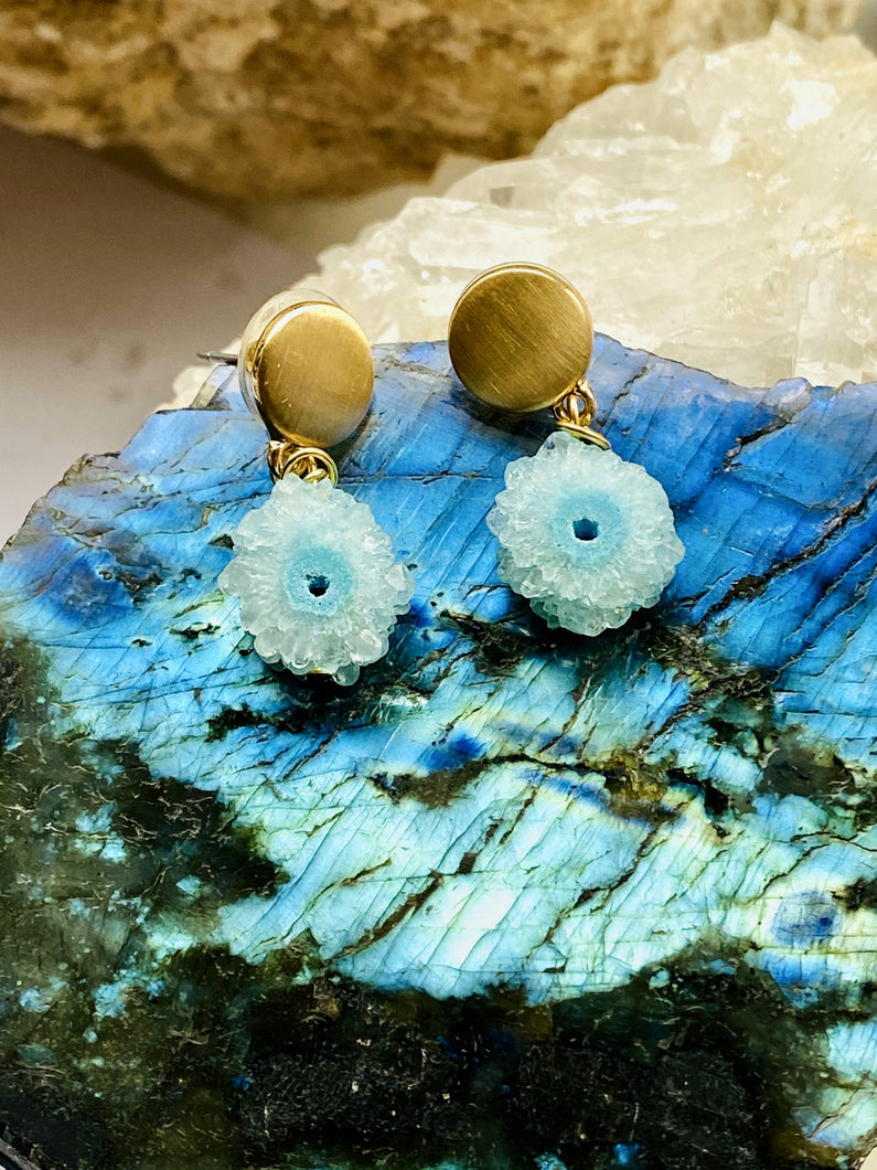 Blue Drusy Gold Stud Earrings