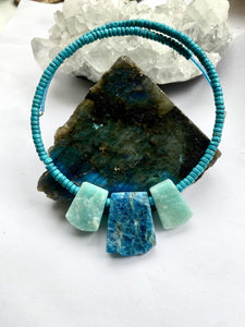 Amazonite with Apatite and Turquoise Choker