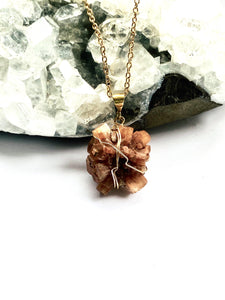 aragonite brass pendant by full moon deigns, red stone necklace
