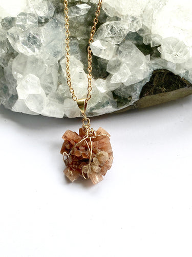 Aragonite Brass Pendant Necklace