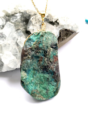 Chrysocolla brass and Pendant Necklace by full moon designs