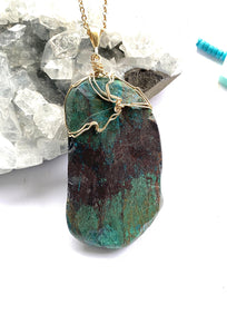 chrysocolla brass and pendant necklace by full moon designs jewellery