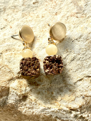 yellow calcite and dressy gold earrings handmade by full moon designs drusy