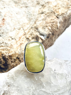 Prehnite (Yellow) Sterling Silver Ring