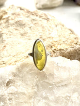 Load image into Gallery viewer, Prehnite (yellow) Sterling Silver Ring - Full Moon Designs