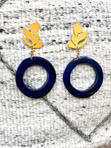 Recycled Blue Stud Earrings with Yellow leaves