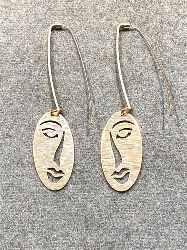earrings with faces brass arty full moon designs