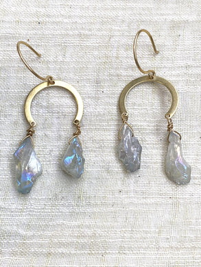 Aqua Quartz Brass Earrings