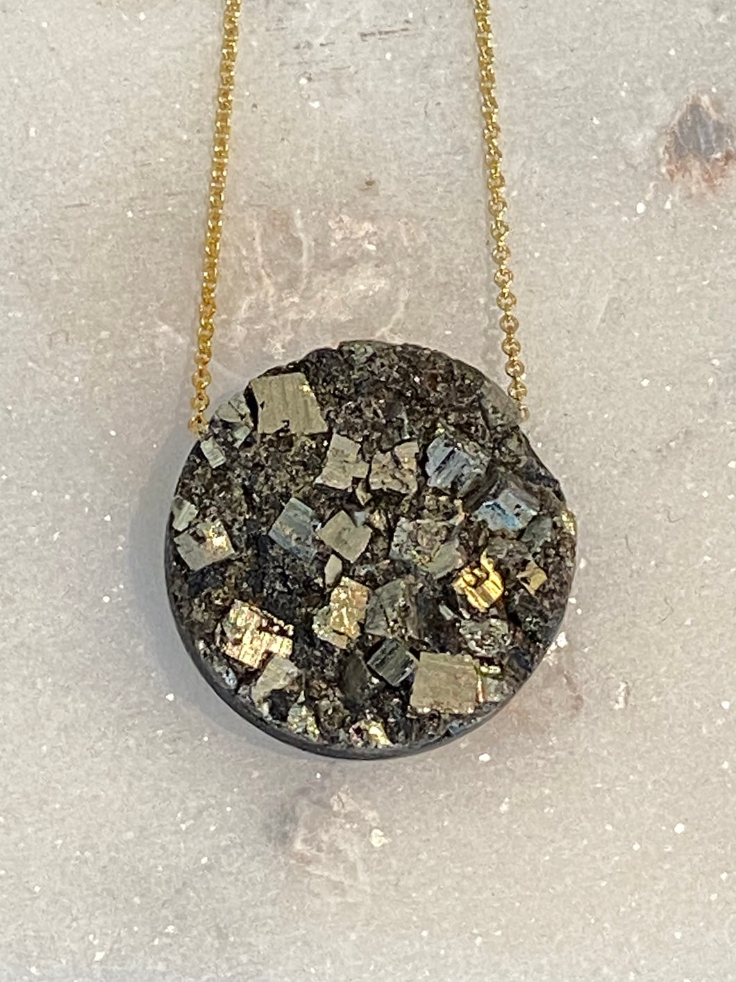 Pyrite with Shungite Gold filled Necklace - Full Moon Designs