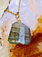Load image into Gallery viewer, labradorite necklace on chain close up, handmade by full moon designs