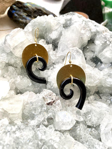 Horn and Brass Earrings by Full Moon Designs