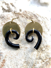 Load image into Gallery viewer, Horn and Brass Earrings