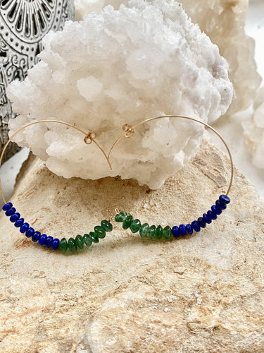 dioptase (green) and lapis lazuli (blue), hoops hoop earrings handmade one of a kind gold jewellery gemstones