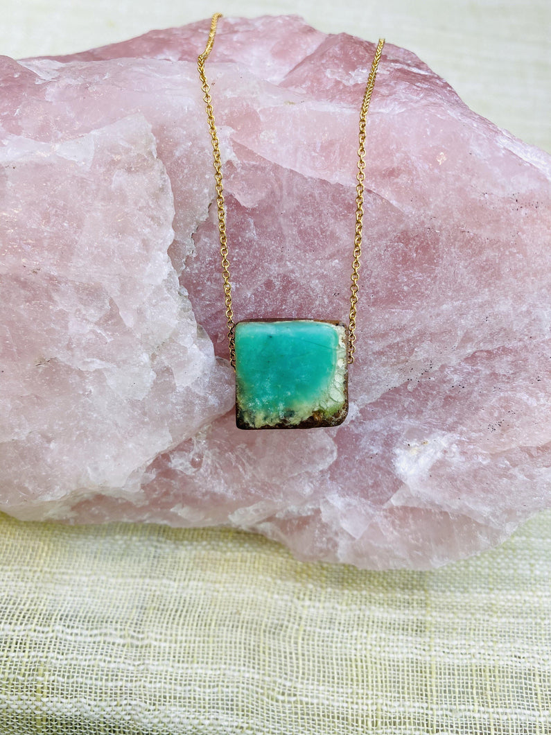Chrysoprase Gold filled Necklace by full moon designs turquoise stone gemstone jewelry