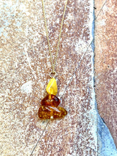 Load image into Gallery viewer, amber gold filled necklace by full moon deisgns, natural gemstone jewellery handmade