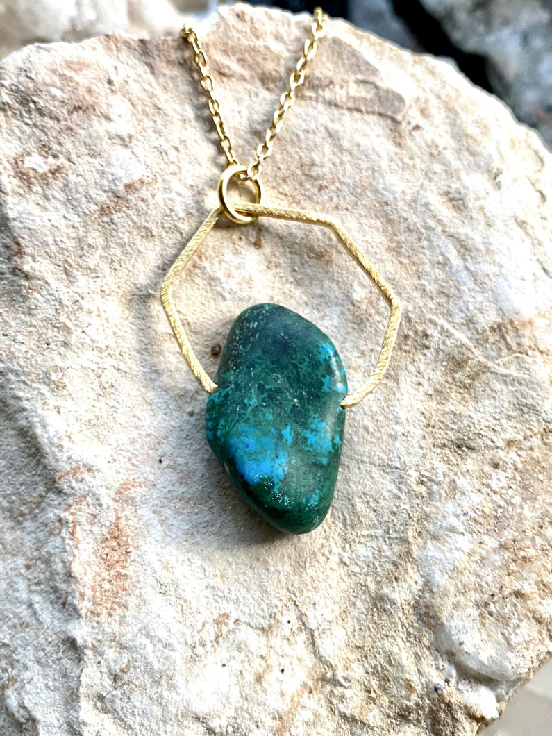 Chrysocolla Gold Necklace FUll Moon Designs