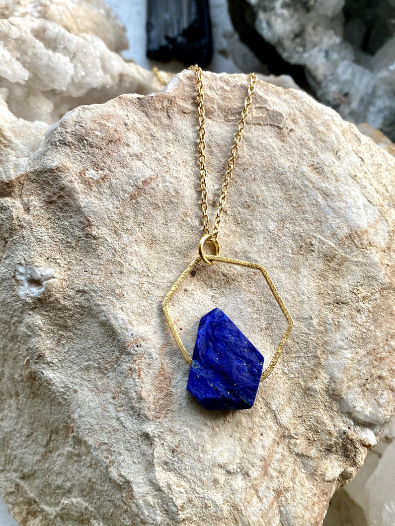 lapis lazuli gold necklace. Hand made by Full Moon Designs