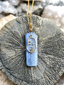 Kyanite (Blue ) Gold and Brass Necklace