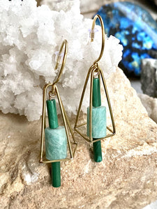 Malachite and Amazonite Brass Earrings side view